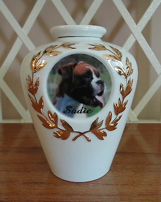 Pet Cremation Urn, Dog Memorial, 24K Gold Design, Cat Urn, Personalized, Custom