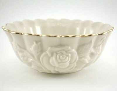 Lenox Scallop Rose Bowl Ivory w/Gold Accent Trim Raised Rose Design Small