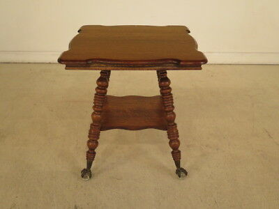 F40158: Antique Victorian Oak Parlor Table w. Glass Claw Feet