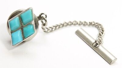 Vintage Zuni Sterling Silver Small Old Pawn Turquoise Inlay Diamond Tie Tack 925