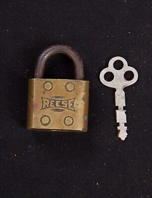 Antique Brass Reese Padlock with Key