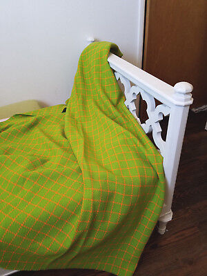 """VTG* 60's lime green and orange wool check/plaid fabric* soft weave* 62"""" x 57"""""""