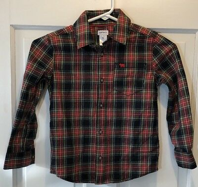 Carters Red Green and Black Plaid Shirt Boys Size 5 Button Down New With Tags