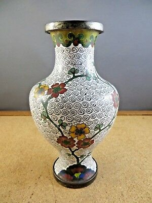 "Antique Chinese Cloisonne Enamel Brass Yellow Red Floral White 6 1/2"" Vase"