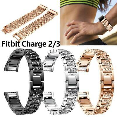AU For Fitbit Charge 2/3 Replacement Stainless Steel Rhinestone Wrist Watch Band