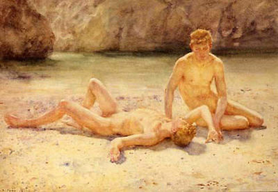 CXJPT717 two nude naked male man in beach hand wall art oil painting on canvas