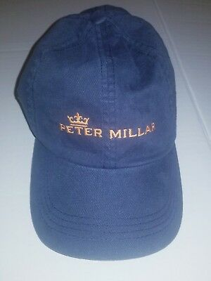 Peter Millar Men s Adjustable Cap Hat Golf Navy Blue Spell Out Crown Logo 1cdf0370bccd