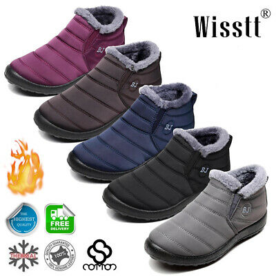 Mens Womens Winter Snow Ankle Boots Soft Fur Lined Waterproof Outdoor Work Shoes