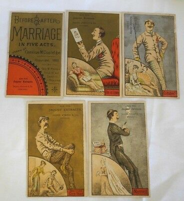 Lot Antique Advertising Trade Cards Jaques Extracts Before & After Marriage RARE