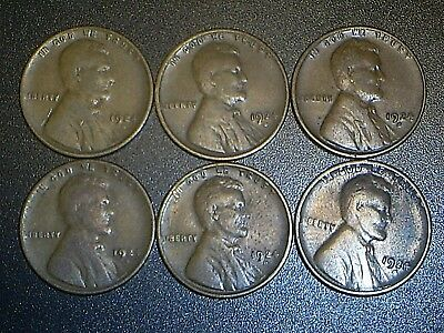 Lot Of (6) 1924 D Denver Lincoln Wheat Cents From Penny Collection