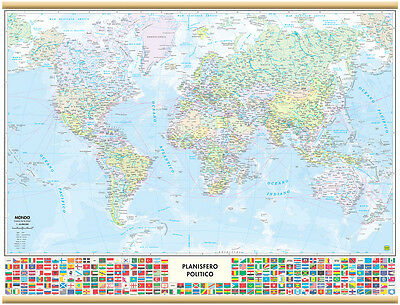 World With Flags Map Wall [91X70 Cm] [Map/map/poster] Belletti