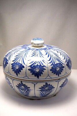 Antique Vintage Rare Chinese Blue White Porcelain Lidded Bowl Hand Painted