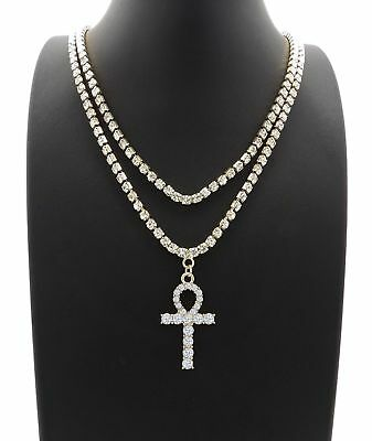 "ICED OUT CZ ANKH PENDANT W/ 3mm 16"" & 18"" 1 ROW TENNIS CHAIN NECKLACE HIP HOP"