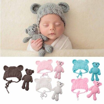 Bear and Baby Cap Infant Photography Accessories Newborn Photography Props Baby