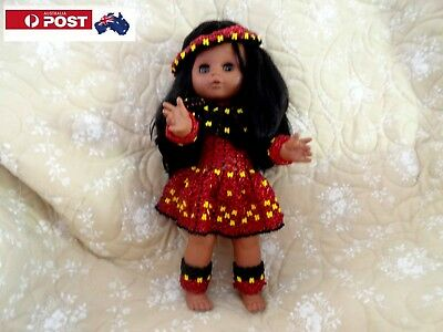 Australian Aboriginal, Hand Beaded, 28 cm, Vinyl Doll