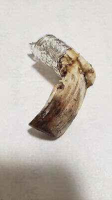 Vip Rare Wild Boar Upper Monster Shape Tooth (Tusk) Solid Silver Pendant