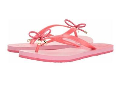 8fe3df398027f4 New W Box Kate Spade Peach Sherebert Shiny Flip Flops Sandals Bows Womens  Size 8