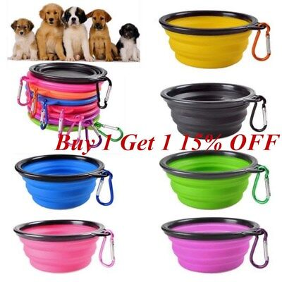 AU STOCK Pet Cat Dog Bowl Travel Portable Collapsible Feeding Water Dish Feeder