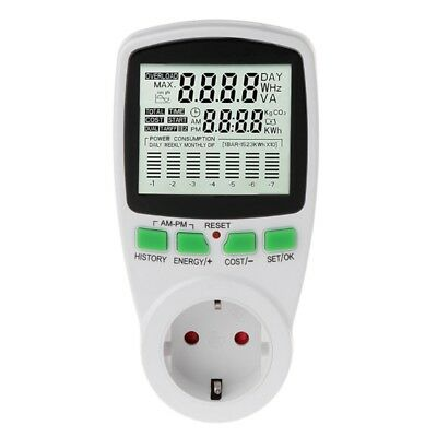 LCD EU Digital Meter Voltage Power Wattmeter Electricity Consumption Analyzer
