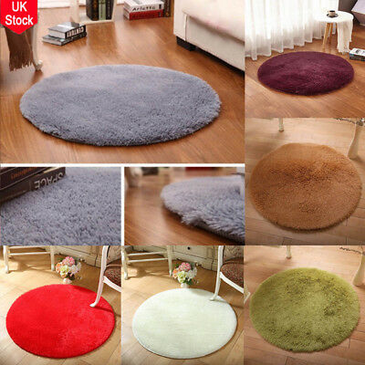 Fluffy Rugs Anti-Skid Shaggy Area Rug Dining Room Carpet Hoom Floor Round Mat UK