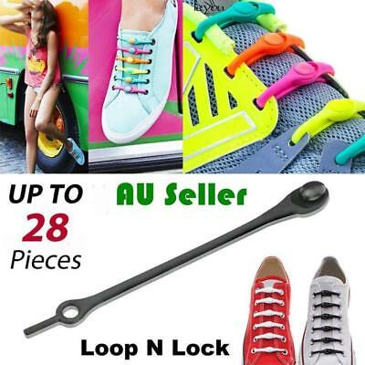 Shoelaces No Tie Elastic Silicone Loop N Lock Adult Sneaker Runner Shoe Laces