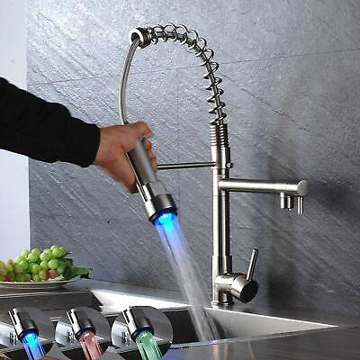 LED Commercial Pre-Rinse Kitchen Sink Faucet Pull Down Sprayer Brushed Nickel