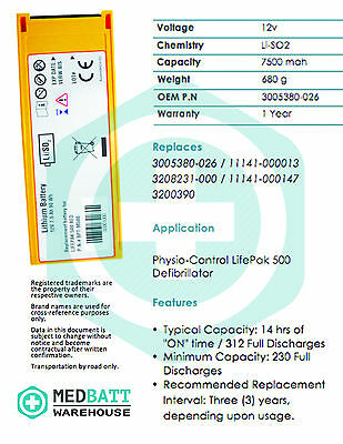 Replacement Physio-Control Medtronic LifePak 500 AED Non-Rechargeable Battery