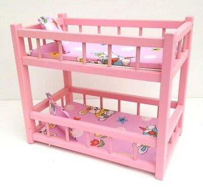 Wooden Toy Bunk Bed For 2 Dolls Fit Dolls Size 14 Long Fit Dolls