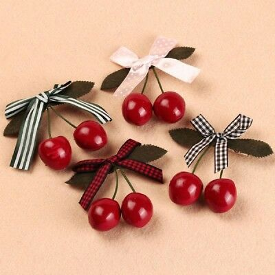 Hot Women Girl Lady Bow Cherry Hair Clip Hairpin Harajuku Kawaii Hair Decoration
