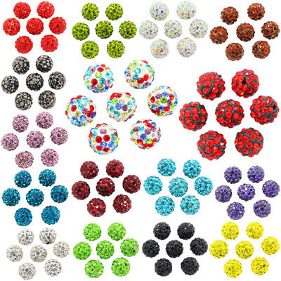 10x Quality Czech Crystal Rhinestones Pave Clay Round Disco Ball Spacer Beads
