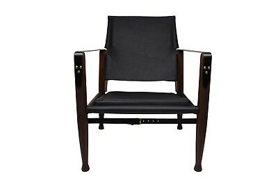 Kaare Klint safari chair with new aniline leather upholstery, dark stained frame