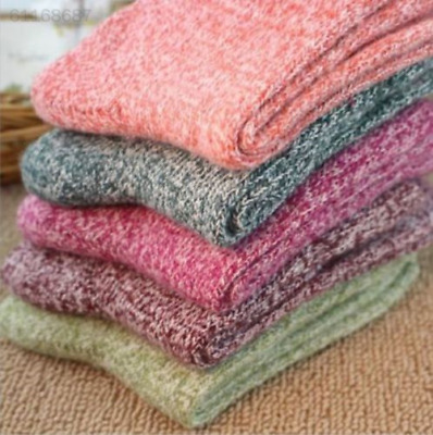 37FC 5 Pairs Womens Wool Cashmere Thick Sock Soft Solid Casual Winter Socks