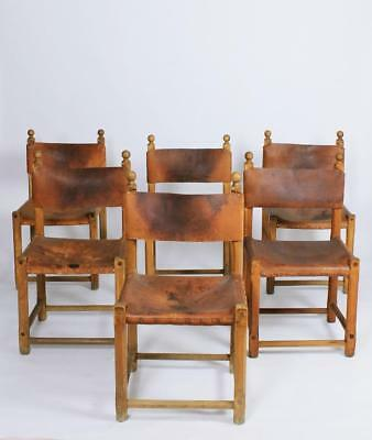 Set of Six Vintage Hungarian Folk art Rustic  Oak and Leather Dining Chairs