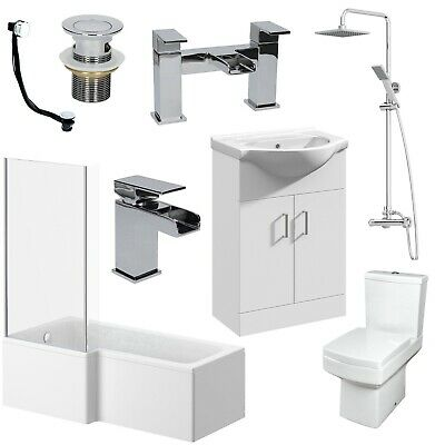 L Shaped Bathroom Suite LH/RH Bath Screen Basin Vanity Unit Toilet Shower Taps