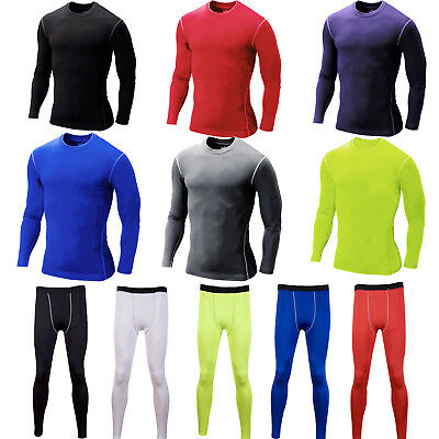 Men Compression Under Skin Armour Base Layer Long Sleeve Top Sport Legging Pants