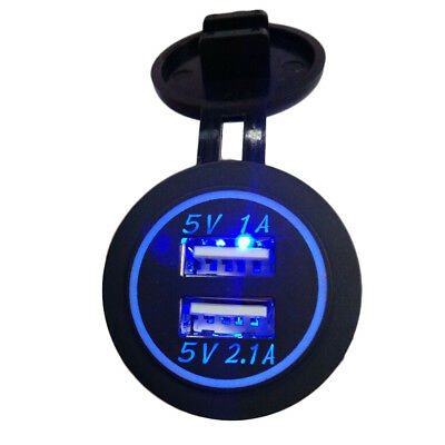 12V-24V Universal Dual USB car cigarette lighter charging socket blue