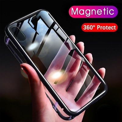 Shockproof Magnetic Tempered Glass Phone Case Cover For iPhone XS Max XR 8 7 6+