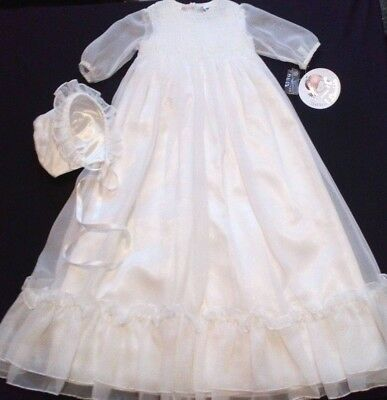 Sarah Louise ivory or white voile christening gown + satin petticoat + bonnet
