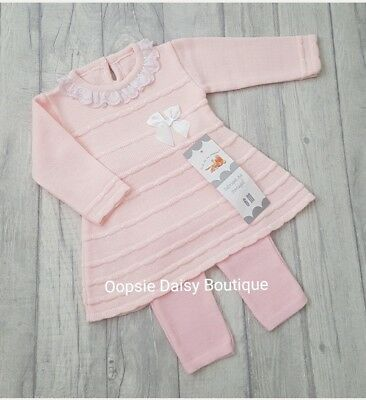 Baby Girls Gorgeous Pink Ribbon Spanish Knitted Dress Set Frill Collar ☆
