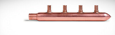 "Copper Pex Manifold 3/4"" Pex 4-Header 1/2"" Pex, Closed End"