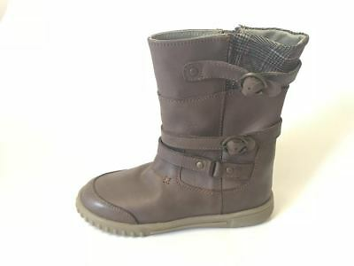 Hush Puppies Lela Kids Girls Shoes Leather Zip Up Winter Non-Slip Brown Boots An