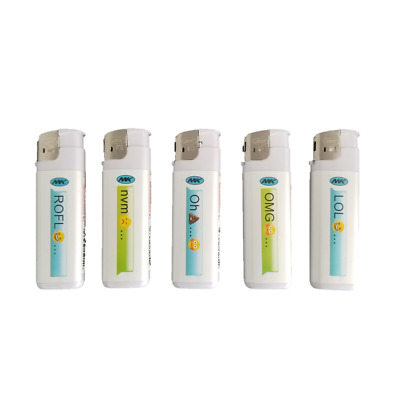 Emoji Full Size MK Electronic Disposable Cigarette Lighters, All Purpose 5 Pack