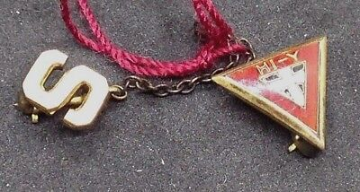 Vintage HI-Y YMCA Enamel triangle Pin with Initial letter S pin on chain