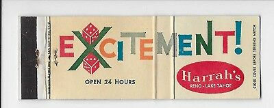 Vintage Matchbook Cover Adv Harrah's Excitement in Reno & Lake Tahoe, Nevada
