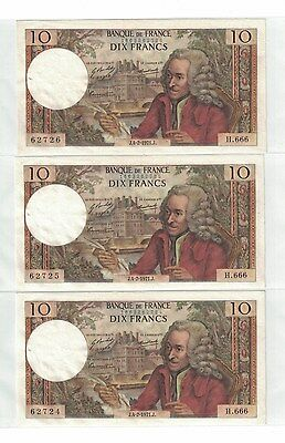 France lot of 3 Consecutive S/N 10 Francs 1971 AU Condition ( #764 )