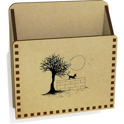 'Cat On A Wall' Wooden Letter Holder / Box (LH00031735)