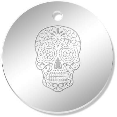 11 x 34mm 'Sugar Skull' Mirror Pendants / Charms (PN00044837)