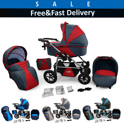 Pram Baby Travel System 3IN1 Pushchair Carrycot Car Seat Combi Buggy From Birth!