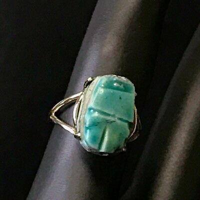 Vintage10 K Gold PSCO Scarab Ring Size 6, Egyptian Revival Art Deco