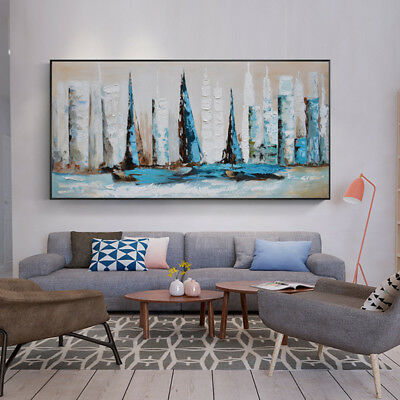YA724# Large Hand-painted Abstract oil painting Boats Art Canvas No Frame 48in